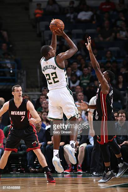 Khris Middleton of the Milwaukee Bucks shoots against the Miami Heat during the game on March 9 2016 at BMO Harris Bradley Center in Milwaukee...