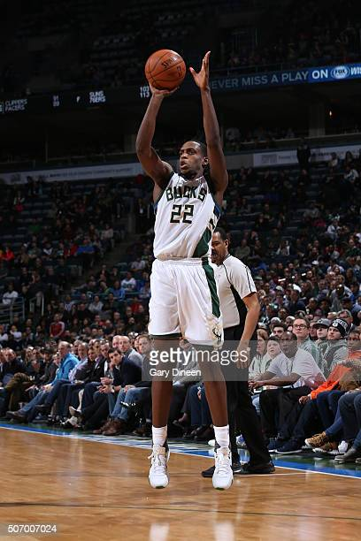 Khris Middleton of the Milwaukee Bucks shoots against the Orlando Magic during the game on January 26 2016 at BMO Harris Bradley Center in Milwaukee...