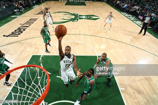 Khris Middleton of the Milwaukee Bucks shoots the ball against the Boston Celtics during Game Five of the Eastern Conference Semifinals of the 2019...