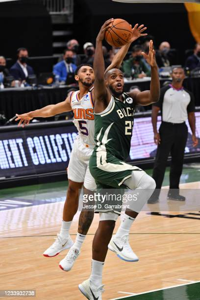 Khris Middleton of the Milwaukee Bucks shoots the ball against the Phoenix Suns during Game Three of the 2021 NBA Finals on July 11, 2021 at Fiserv...