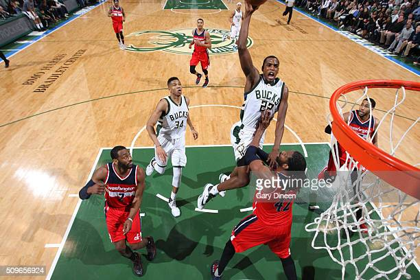 Khris Middleton of the Milwaukee Bucks shoots the ball against the Washington Wizards on February 11 2016 at the BMO Harris Bradley Center in...