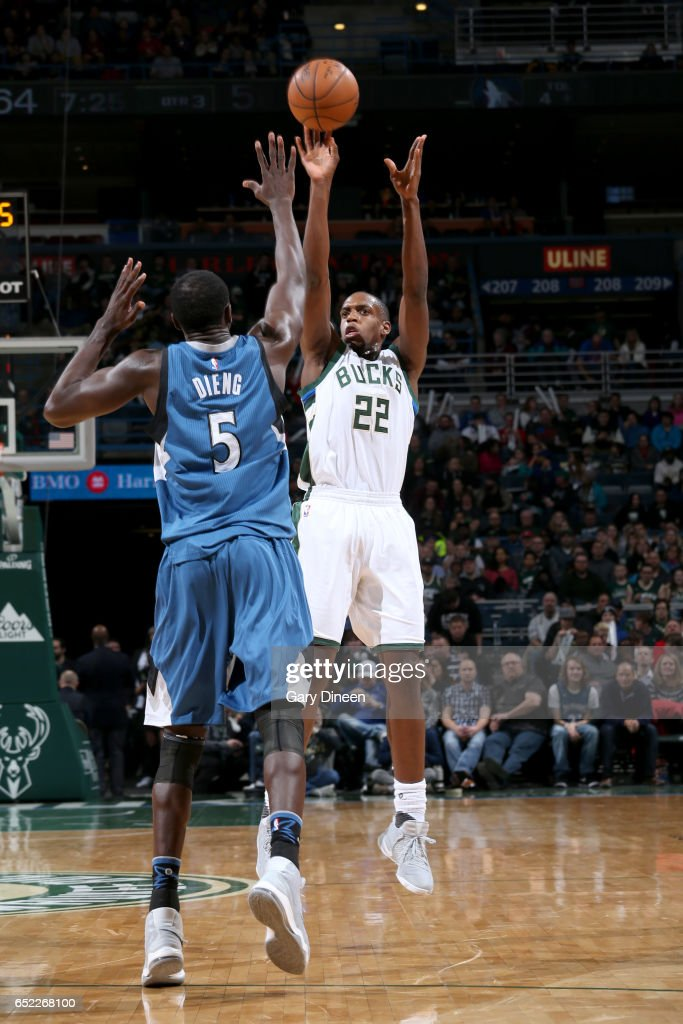 Khris Middleton #22 of the Milwaukee Bucks shoots the ball against the Minnesota Timberwolves on March 11, 2017 at the BMO Harris Bradley Center in Milwaukee, Wisconsin.