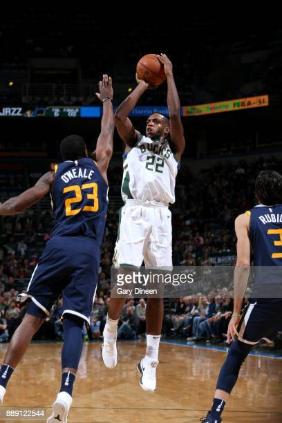 Khris Middleton of the Milwaukee Bucks shoots the ball against the Utah Jazz on December 9 2017 at the BMO Harris Bradley Center in Milwaukee...