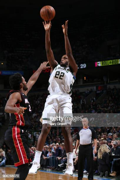 Khris Middleton of the Milwaukee Bucks shoots the ball against the Miami Heat on January 17 2018 at the BMO Harris Bradley Center in Milwaukee...