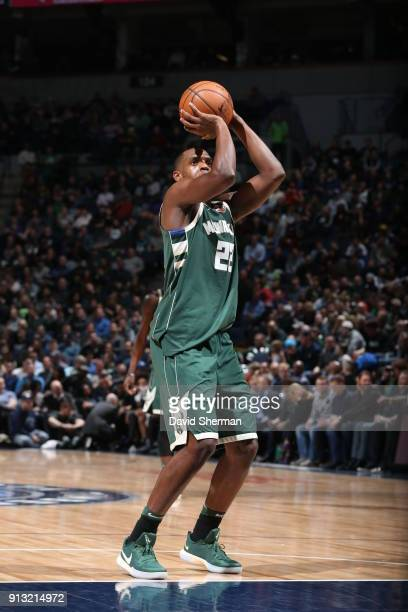 Khris Middleton of the Milwaukee Bucks shoots the ball against the Minnesota Timberwolves on February 1 2018 at Target Center in Minneapolis...