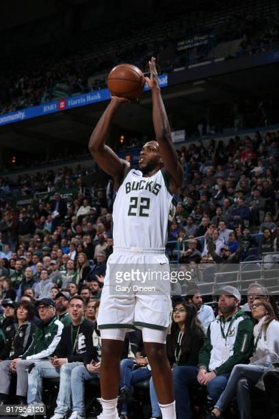 Khris Middleton of the Milwaukee Bucks shoots the ball against the Atlanta Hawks on February 13 2018 at the Bradley Center in Milwaukee Wisconsin...