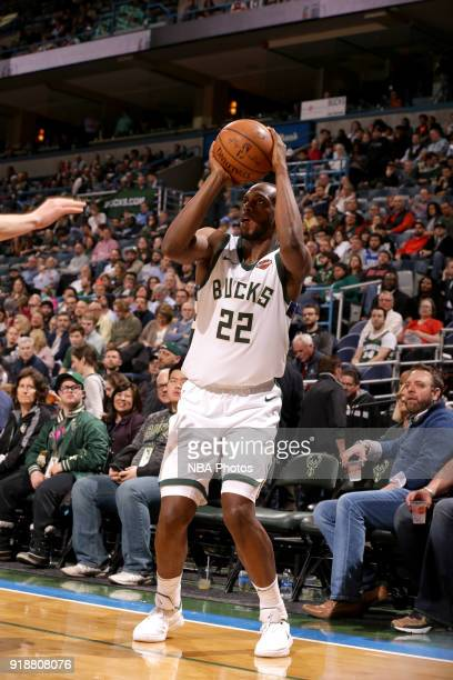 Khris Middleton of the Milwaukee Bucks shoots the ball against the Denver Nuggets on February 15 2018 at the BMO Harris Bradley Center in Milwaukee...