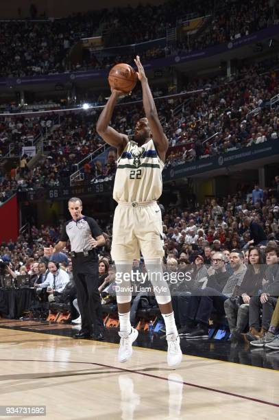 Khris Middleton of the Milwaukee Bucks shoots the ball against the Cleveland Cavaliers on March 19 2018 at Quicken Loans Arena in Cleveland Ohio NOTE...