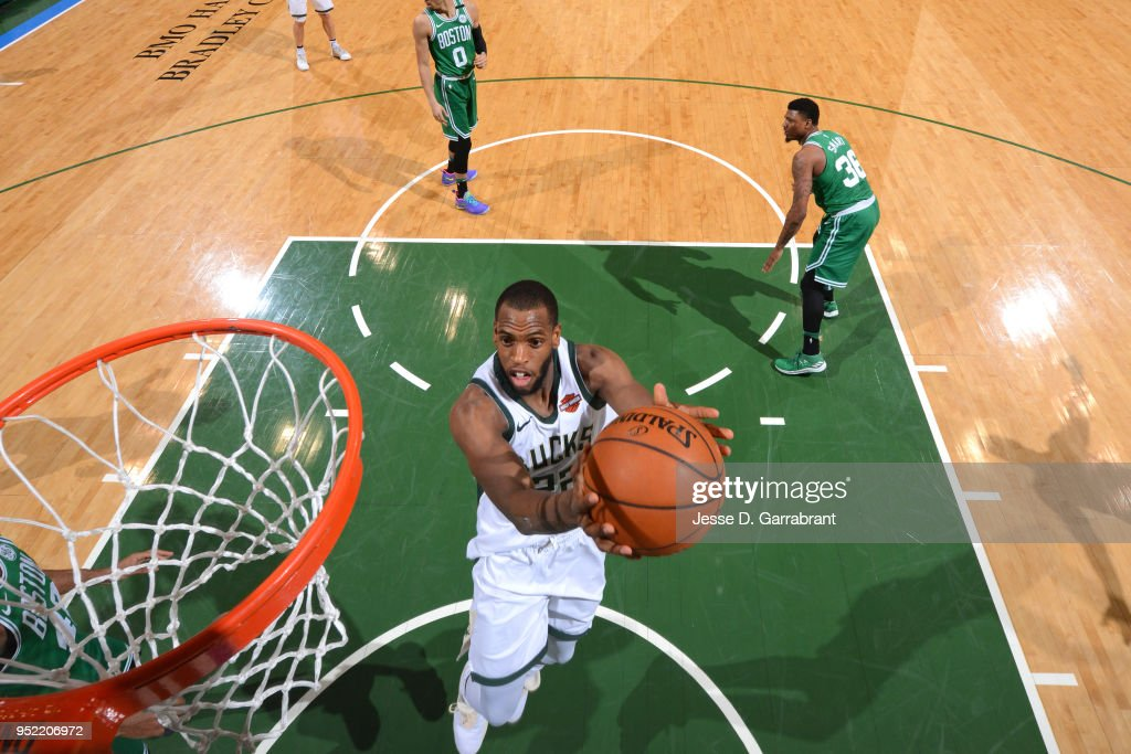 Khris Middleton #22 of the Milwaukee Bucks shoots the ball against the Boston Celtics in Game Six of Round One of the 2018 NBA Playoffs on April 26, 2018 at the BMO Harris Bradley Center in Milwaukee, Wisconsin.