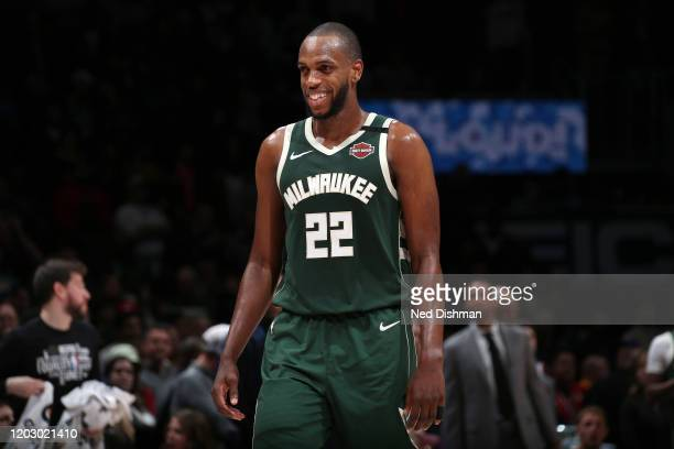 Khris Middleton of the Milwaukee Bucks smiles during the game against the Washington Wizards on February 24 2020 at Capital One Arena in Washington...
