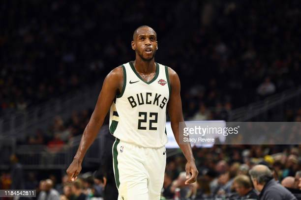 Khris Middleton of the Milwaukee Bucks walks to the bench during a game against the Cleveland Cavaliers at Fiserv Forum on October 28 2019 in...