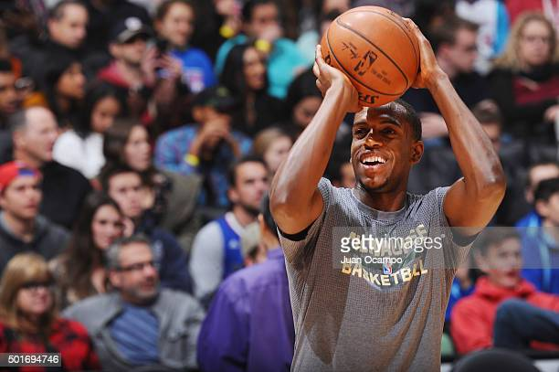 Khris Middleton of the Milwaukee Bucks warms up before the game against the Los Angeles Clippers on December 16 2015 at STAPLES Center in Los Angeles...