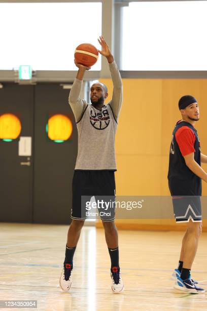 Khris Middleton of the USA Men's National Team shoots the ball during USAB Mens National Team practice on July 29, 2021 in Tokyo, Japan. NOTE TO...