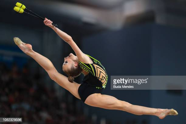 Khrystyna Pohranychna of Ukraine competes in Women's Individual All-Around Final during day 10 of Buenos Aires Youth Olympic Games at Youth Olympic...