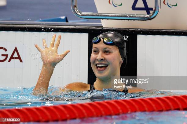 Khrystyna Yurchenko of Ukraine celebrates after winning the gold medal in the Women's 100m Breaststroke SB9 final on day 10 of the London 2012...