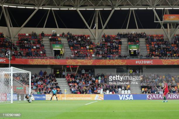 Khulekani Kubheka of South Africa saves a penalty shot from Jota of Portugal during the 2019 FIFA U20 World Cup group F match between South Africa...