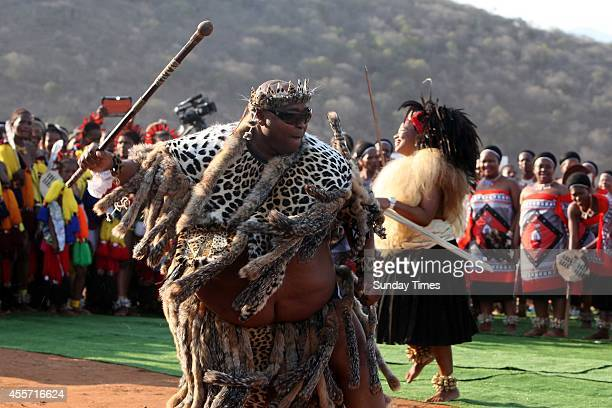 Khulubuse Zuma dancers with his wife Fikisiwe Dlamini during their traditional wedding on September 14 2014 in Nkandla South Africa President Jacob...