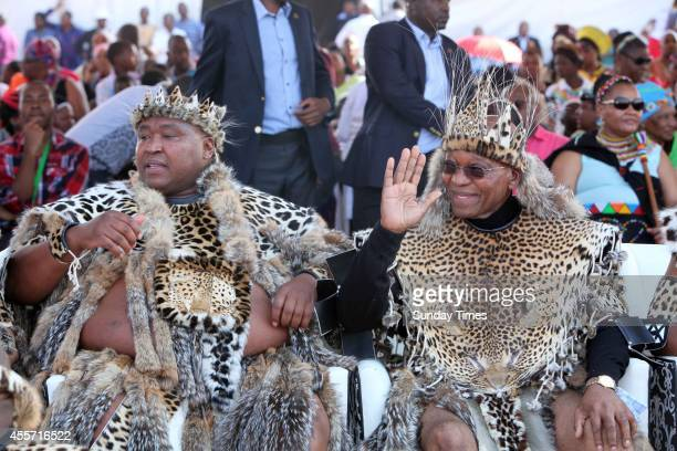 Khulubuse Zuma with his uncle President Jacob Zuma during his traditional wedding to Princess Fikisiwe Dlamini on September 14 2014 in Nkandla South...