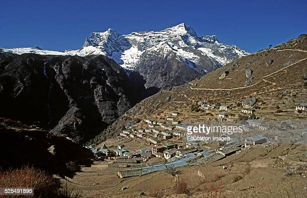 Khumbila Peak Backdrops Namche Bazaar Which Is The Center Of Sherpa Civilization And The Largest Town In The Khumbu District Of Nepal