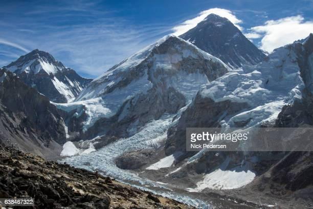 khumbu glacier below mount everest - khumbu stock pictures, royalty-free photos & images