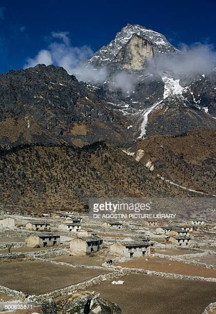 Khumjung village at 3970 metres above sea level Sagarmatha National Park Khumbu region Nepal