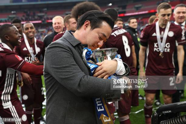 Khun Top, Chairman of Leicester City celebrates with the Emirates FA Cup trophy following The Emirates FA Cup Final match between Chelsea and...