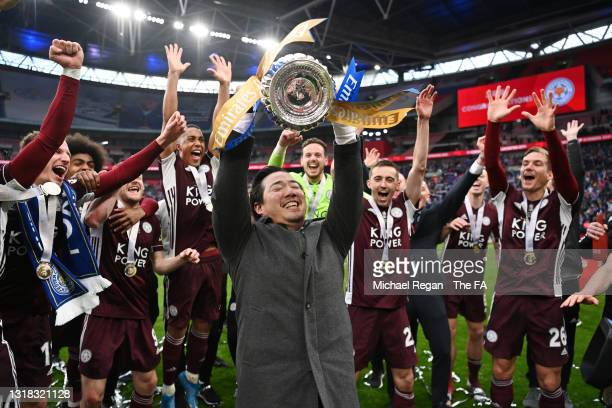 Khun Top, Chairman of Leicester City lifts the Emirates FA Cup trophy following The Emirates FA Cup Final match between Chelsea and Leicester City at...