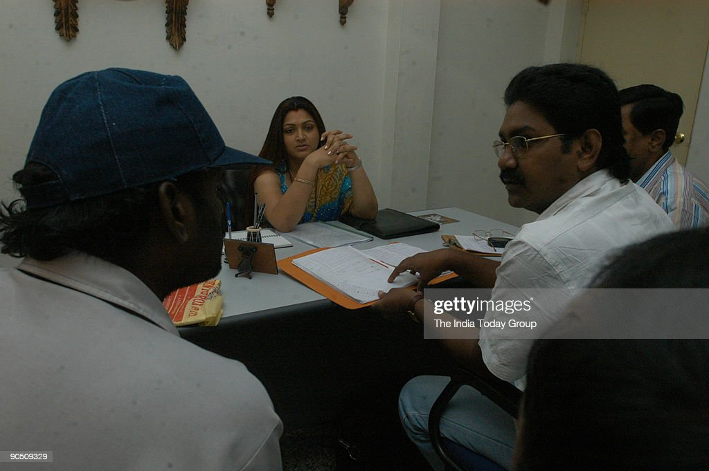 Khushboo, actress discussing the script of her Mega serial Kalki with her crew at her office in Tnagar in Chennai, Tamil Nadu, India ( for Simply Chennai ) : News Photo
