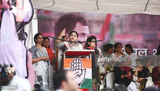 Khushboo an Indian film actress and a politician addressing the Jan Akrosh Rally at Jantar Mantar on July 21 2015 in New Delhi India
