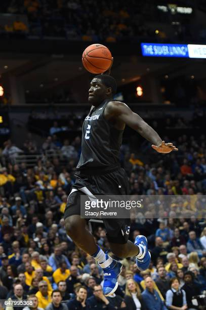 Khyri Thomas of the Creighton Bluejays dunks against the Marquette Golden Eagles during the first half of a game at the BMO Harris Bradley Center on...