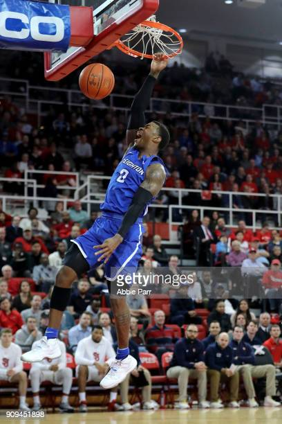 Khyri Thomas of the Creighton Bluejays dunks the ball in the first half against the St John's Red Storm during their game at Carnesecca Arena on...
