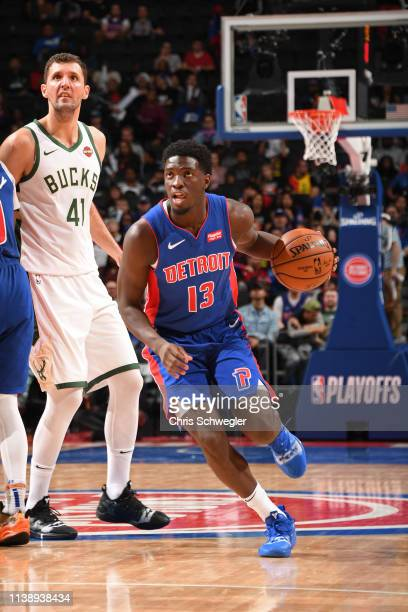 Khyri Thomas of the Detroit Pistons handles the ball against the Milwaukee Bucks during Game Four of Round One of the 2019 NBA Playoffs on April 22...
