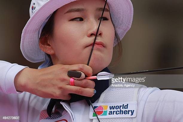 Ki Bo Bae of Korea shoots during the recurve women's individual competition as part of the Mexico City 2015 Archery World Cup Finals at Zocalo Main...