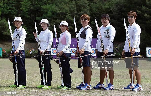 Ki Bo-Bae, Lee Sung-Jin, Kim Bub-Min, Oh Jin-Hyek and Im Dong-Hyun of the South Korean Archery Team pose during the South Korea Olympic Team Media...