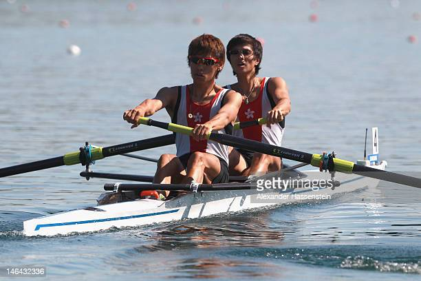 Ki Cheong Kwan and Chiu Mang Tang of Hong Kong compete in the Men´s Lightweight Pair heats during the 2012 Samsung World Rowing Cup III at the...