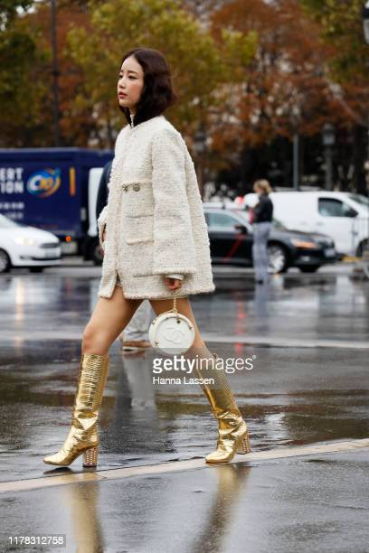 Ki Eunse wearing Chanel jacket, bag and boots outside Chanel during Paris Fashion Week Womenswear Spring Summer 2020on October 01, 2019 in Paris,...