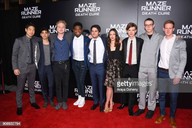 Ki Hong Lee Alex Flores Joe Adler Dexter Darden Dylan O'Brien Kaya Scodelario Thomas BrodieSangster Will Poulter and Chris Sheffield attend the fan...