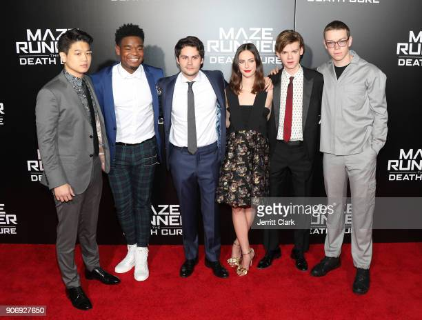 Ki Hong Lee Dexter Darden Dylan OBrien Kaya Scodelario Thomas BrodieSangster and Will Poulter attend the fan screening of 20th Century Fox's 'Maze...