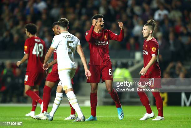 Ki jana hoover of Liverpool celebrates scoring his teams second goal during the Carabao Cup Third Round match between Mk Dons and Liverpool FC at...