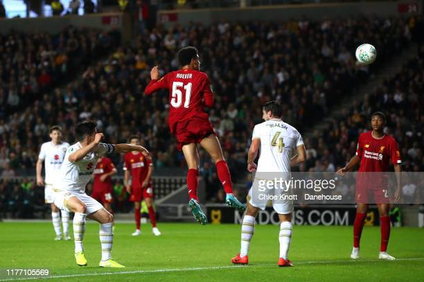 Ki jana hoover of Liverpool scores his teams second goal during the Carabao Cup Third Round match between Mk Dons and Liverpool FC at Stadium MK on...