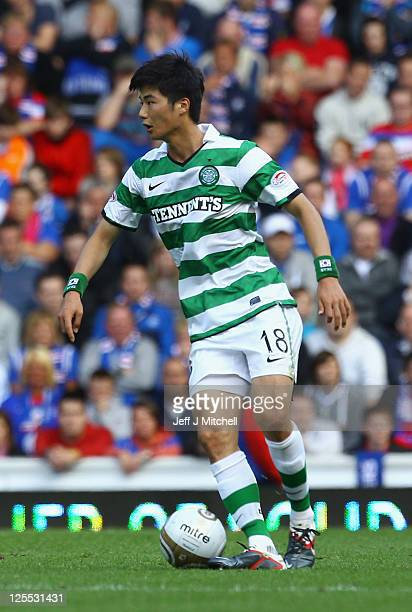 Ki Sung Yeung of Celtic in action during the Clydesdale Bank Premier League match between Rangers and Celtic at Ibrox Stadium on September 18 2011 in...