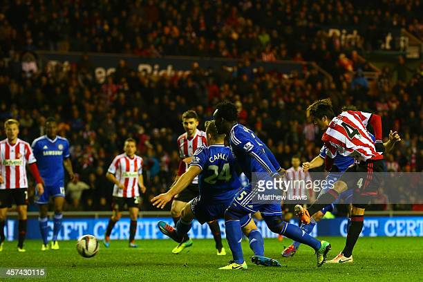 Ki SungYong of Sunderland scores the winning goal in extra time during the Capital One Cup QuarterFinal match between Sunderland and Chelsea at...
