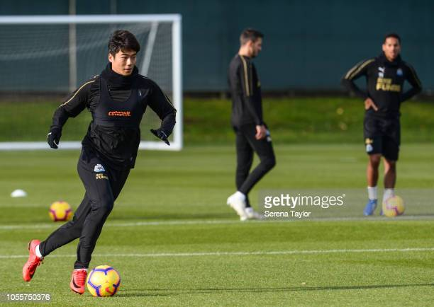 Ki Sungyueng controls the ball during the Newcastle United Training Session at The Newcastle United Training Centre on October 31 in Newcastle upon...