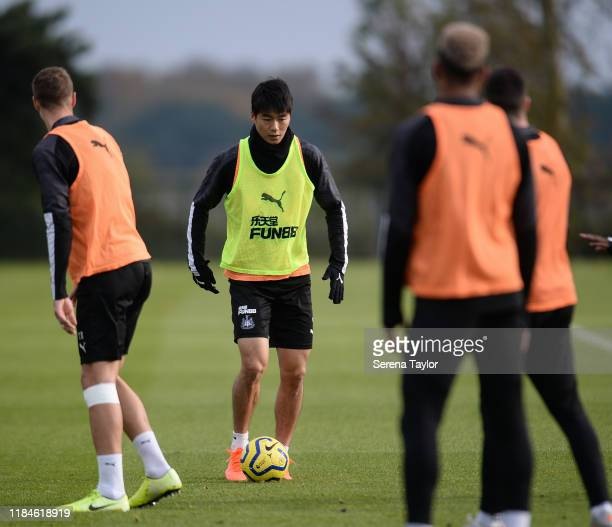 Ki Sung-Yueng controls the ball during the Newcastle United Training Session at the Newcastle United Training Centre on October 31, 2019 in Newcastle...
