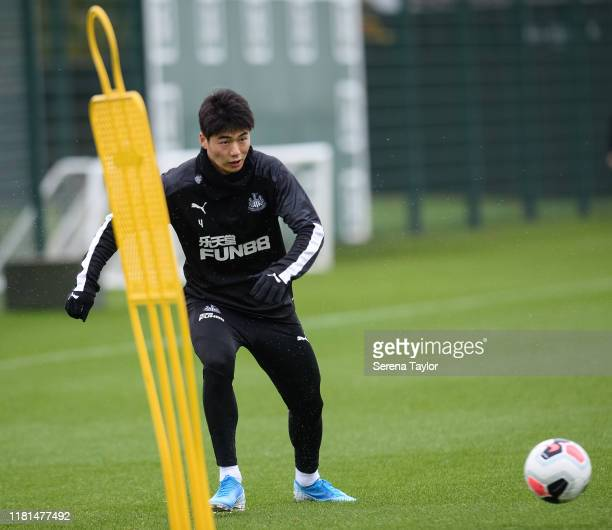 Ki SungYueng looks to cross the ball during the Newcastle United Training Session at the Newcastle United Training Centre on October 16 2019 in...