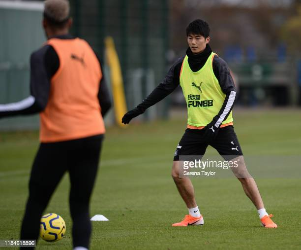 Ki Sung-Yueng looks to pass the ball during the Newcastle United Training Session at the Newcastle United Training Centre on October 31, 2019 in...