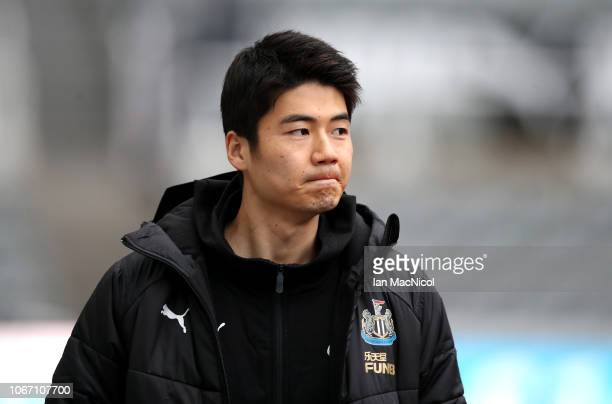 Ki SungYueng of Newcastle United arrives at the stadium prior to the Premier League match between Newcastle United and West Ham United at St James...