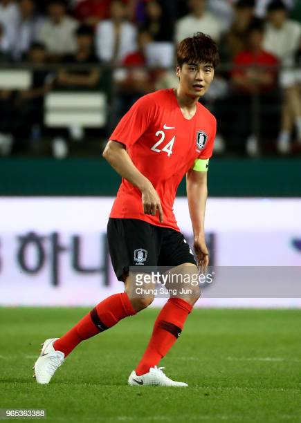 Ki Sungyueng of South Korea in action during the international friendly match between South Korea and Bosnia Herzegovina at Jeonju World Cup Stadium...