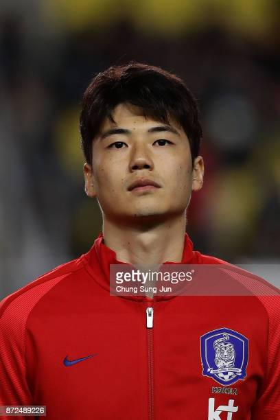 Ki SungYueng of South Korea pose during the international friendly match between South Korea and Colombia at Suwon World Cup Stadium on November 10...