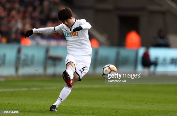 Ki SungYueng of Swansea City during The Emirates FA Cup Quarter Final match between Swansea City and Tottenham Hotspur at Liberty Stadium on March 17...